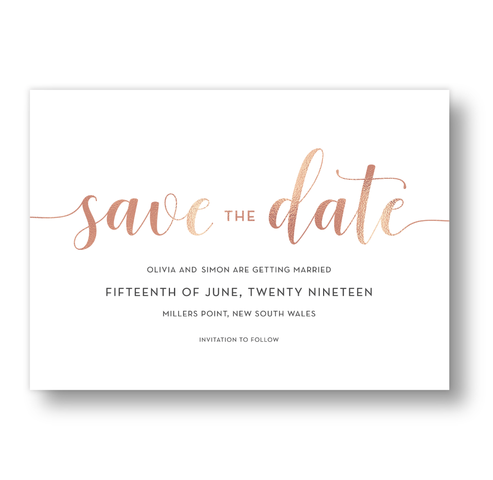 Save The Date Cards 'Lovestruck' White & Rose Gold Faux Foil.