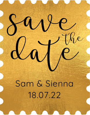 Gold Save the Date Stamp.