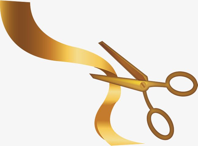 Golden Scissors Ribbon, Scissors Vector, Ribbon Vector, Vector Png.