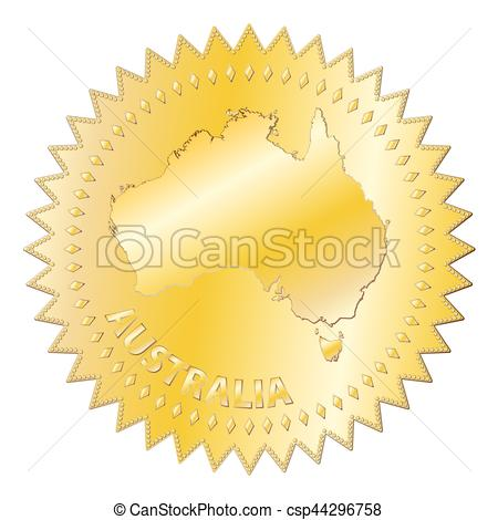 Australia Gold Seal Of Approval Badge.