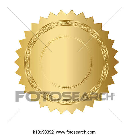 Illustration of gold seal Clipart.