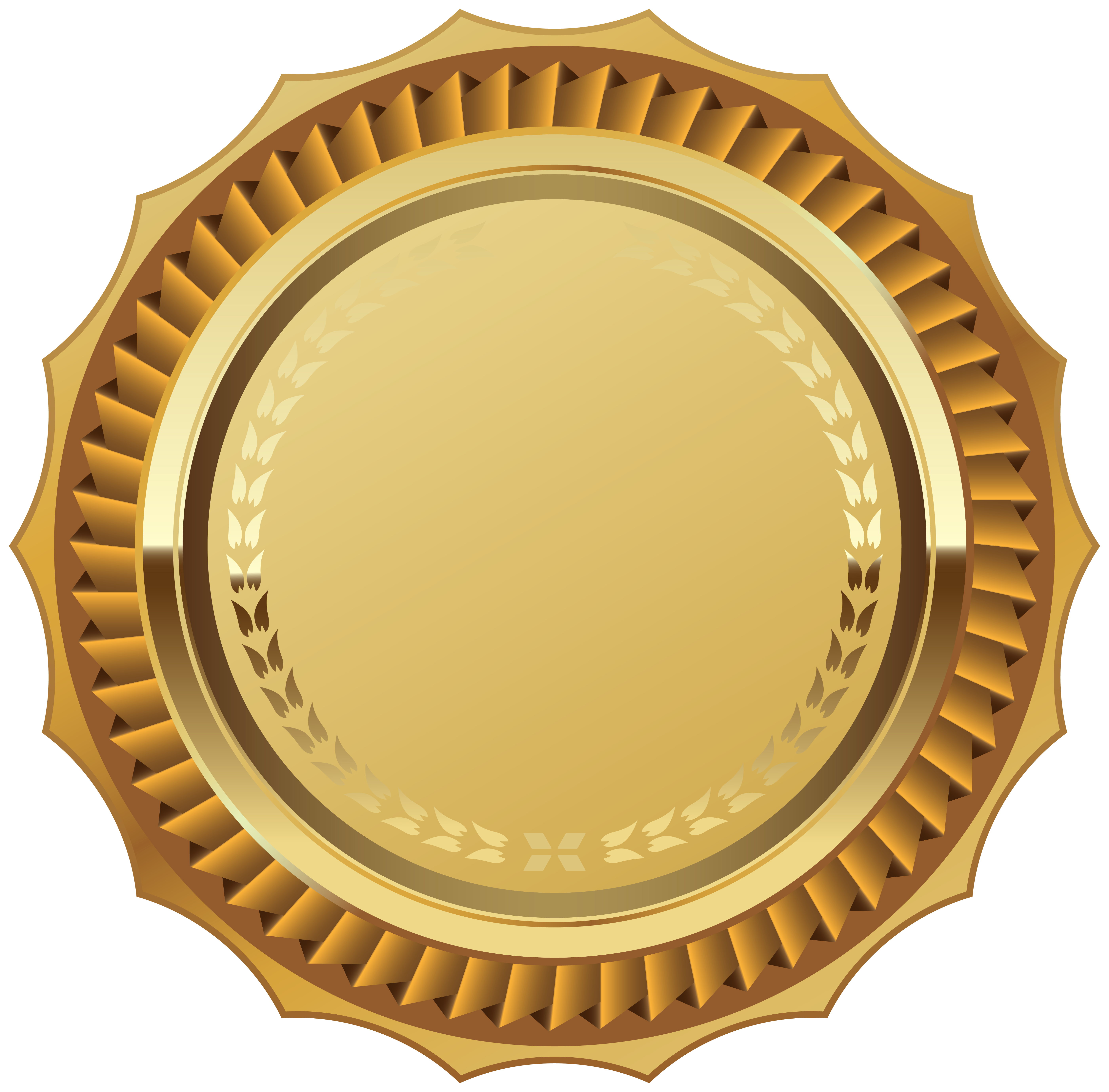 Gold Seal with Ribbon PNG Clipart Image.