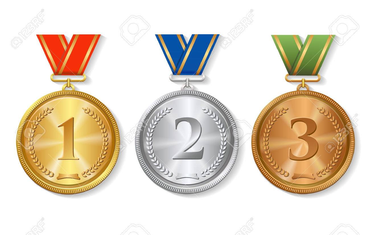 Vector Award gold, silver and bronze Medals Set isolated.