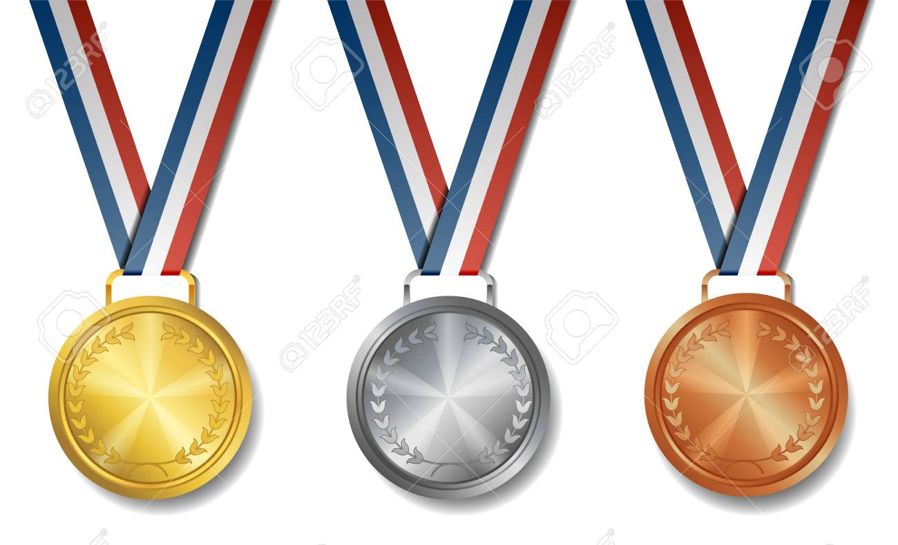 Vector illustration of Set of gold, silver, bronze award medals.
