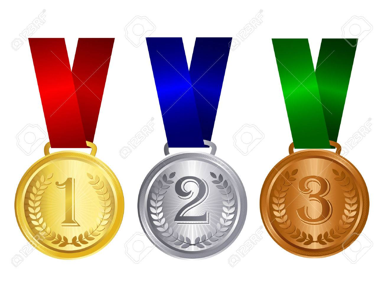 Gold silver and bronze medals with red blue and green ribbons...