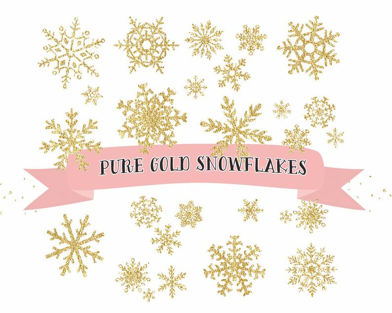 Gold Snowflake clipart, gold glitter Snowflakes Clipart, Christmas Clip  Art, ice crystals clip art, winter clipart, christmas snow.