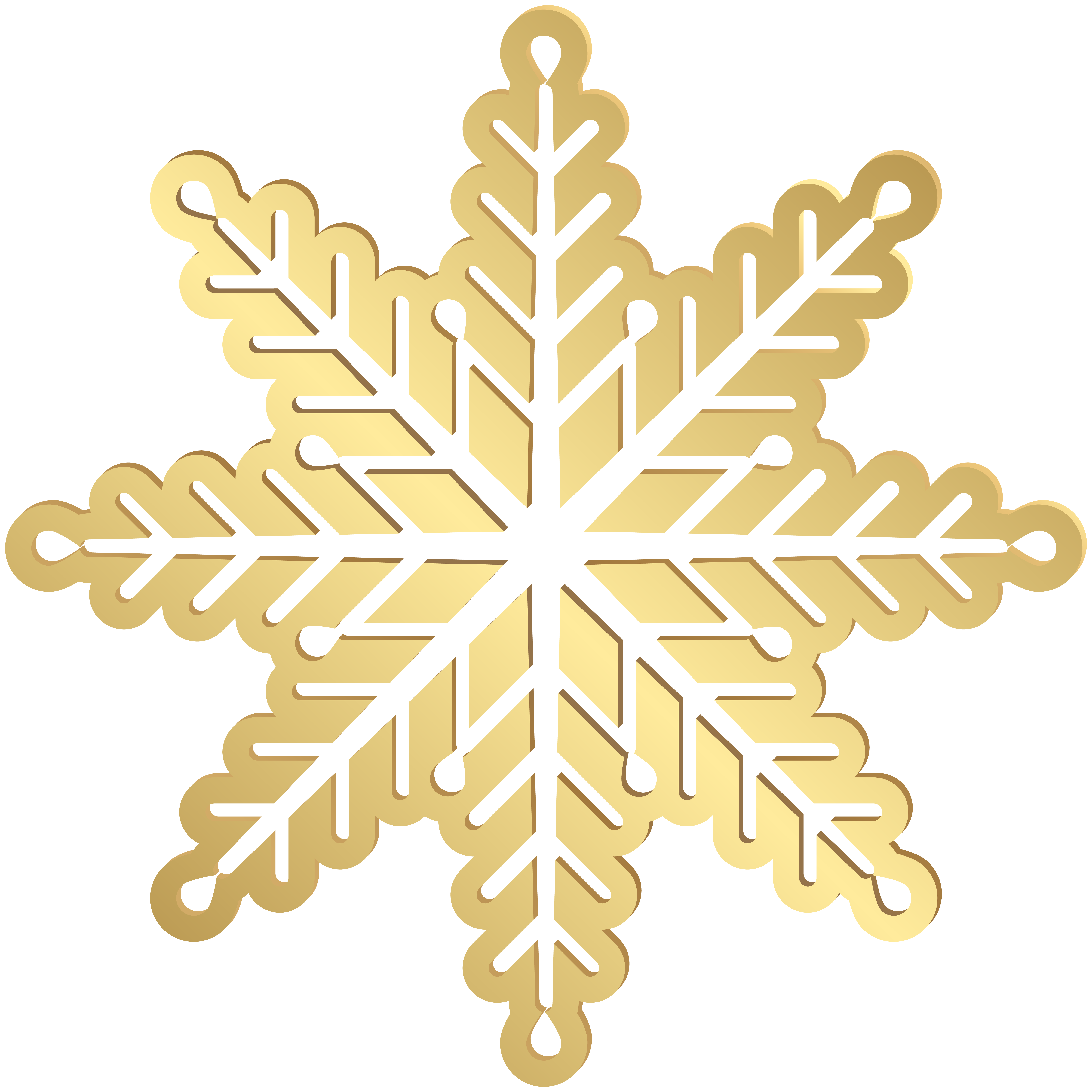 Gold Snowflake PNG Clip Art Image.