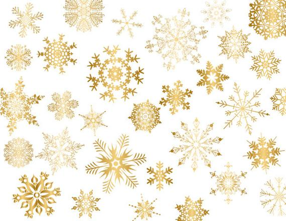 Gold Snowflake Clipart, Gold Snowflake Clip Art, Golden Christmas Clipart,  Christmas Snowflake Clip Art, Golden Snowflake Scrapbook 0419.