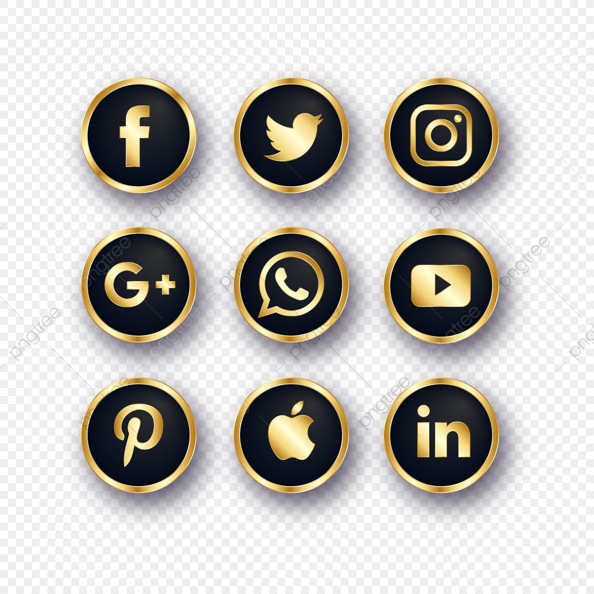 Golden Social Media Icons, Social Media Icons, Social Media, Social.