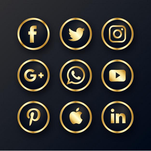 Luxury golden social media icons pack Vector.