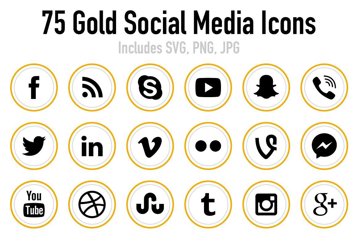 Epic Gold Social Media Icons.