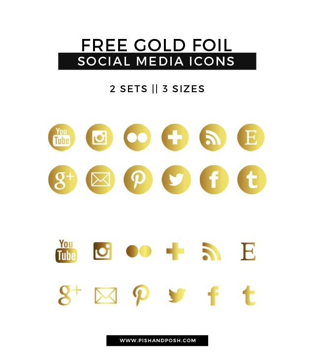 Free Gold Foil Social Media Icons.