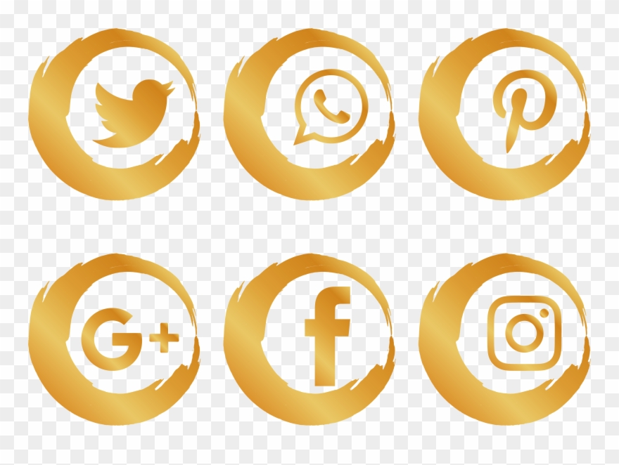 Gold Social Media Icons Png.