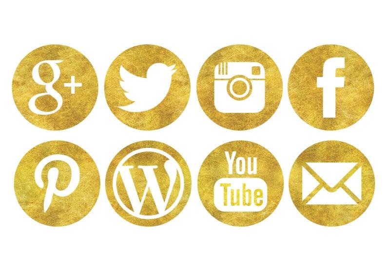 Glitter Gold Social Media Icons.