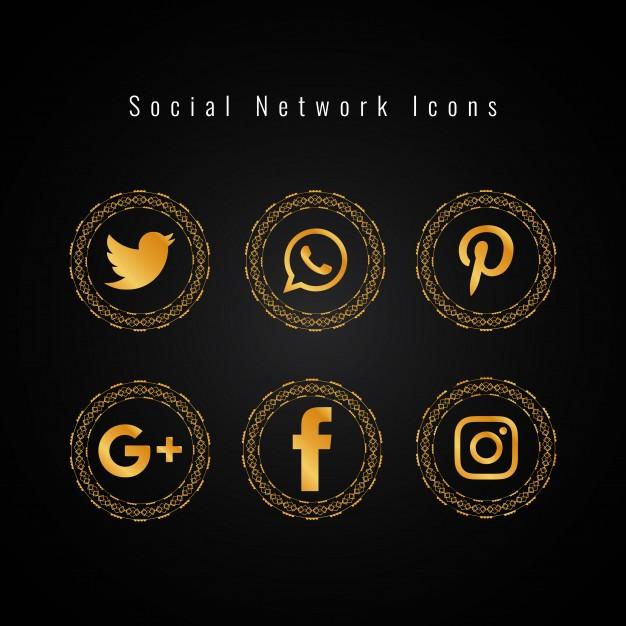 Golden social media icons set Vector.