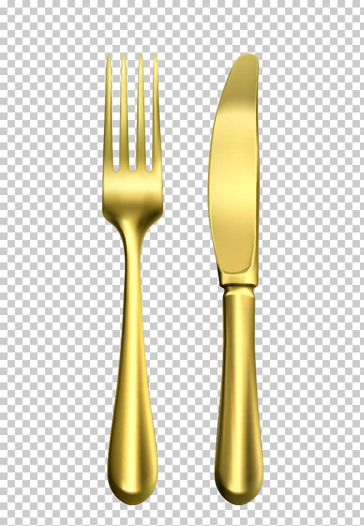 Fork Knife Spoon, Gold metal fork , gold.
