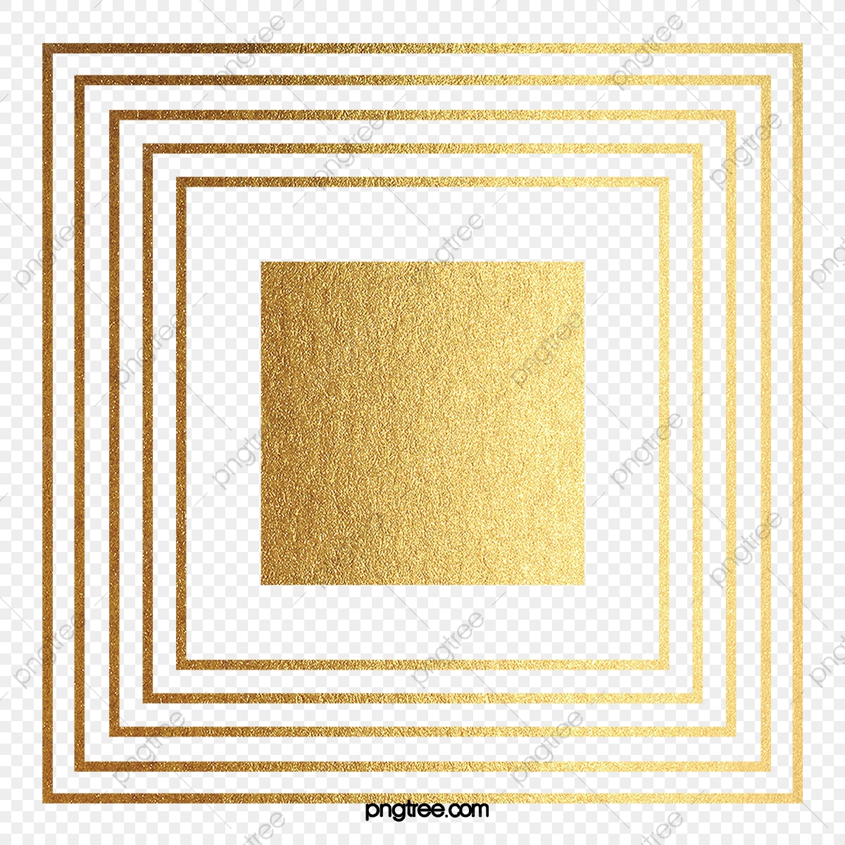 Golden Square, Gold Texture, Geometry, Square PNG Transparent.