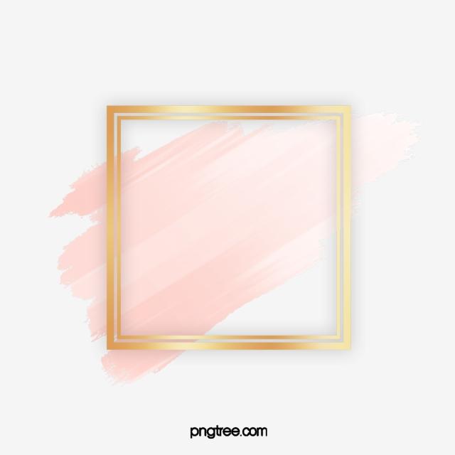 Square Brush Rose Gold Border, Geometric, Shape, Square PNG.