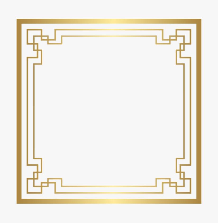 Golden Square Frame Png Image.