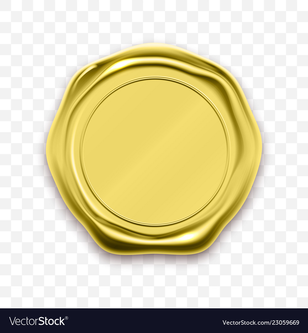 Gold stamp wax seal sealing retro label vector image.