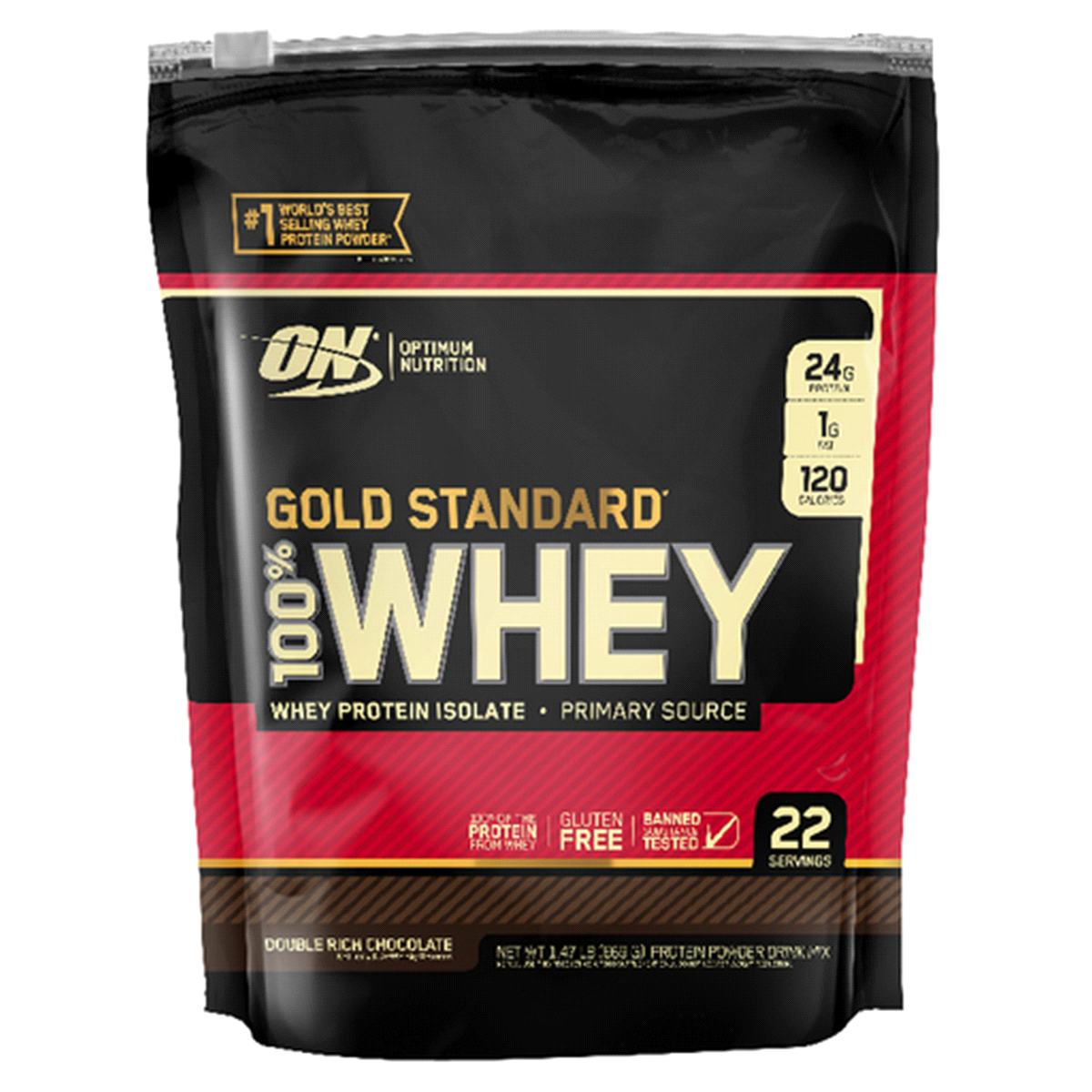 Optimum Nutrition Gold Standard Whey Protein Isolate, Double Rich Chocolate.