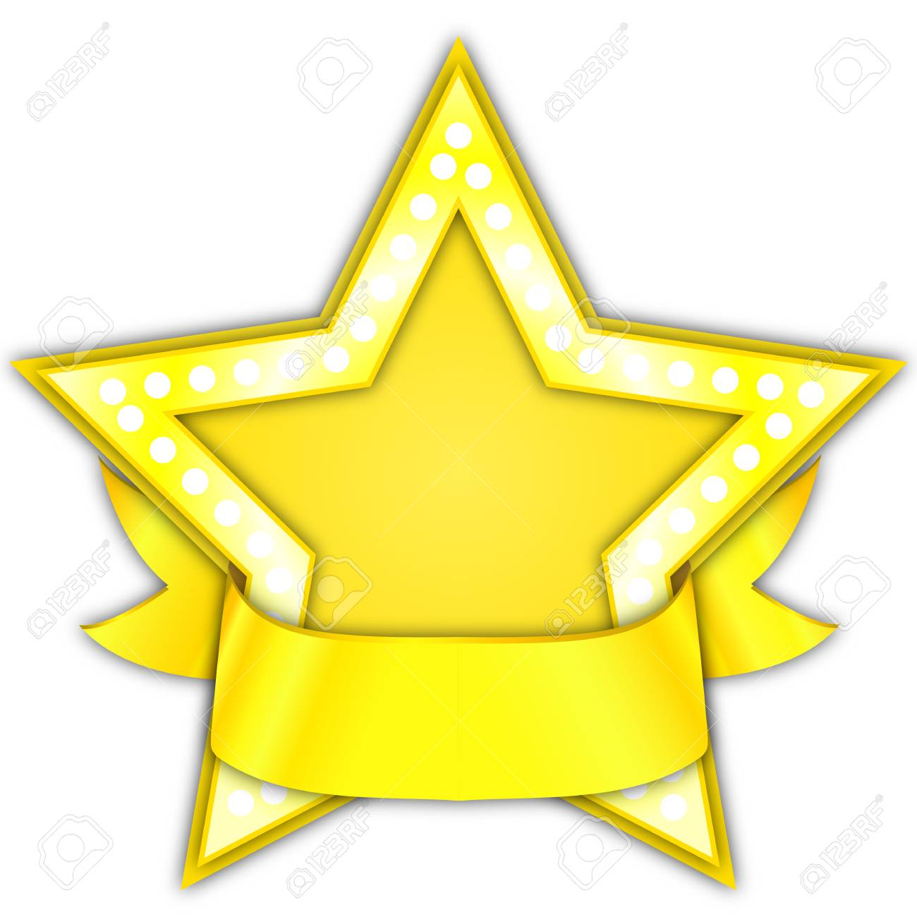 Gold Star Award with ribbon, vector art illustration..