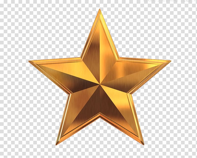 Gold Star , 5 Star transparent background PNG clipart.