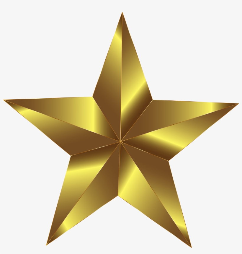 3d Gold Star Png Download.