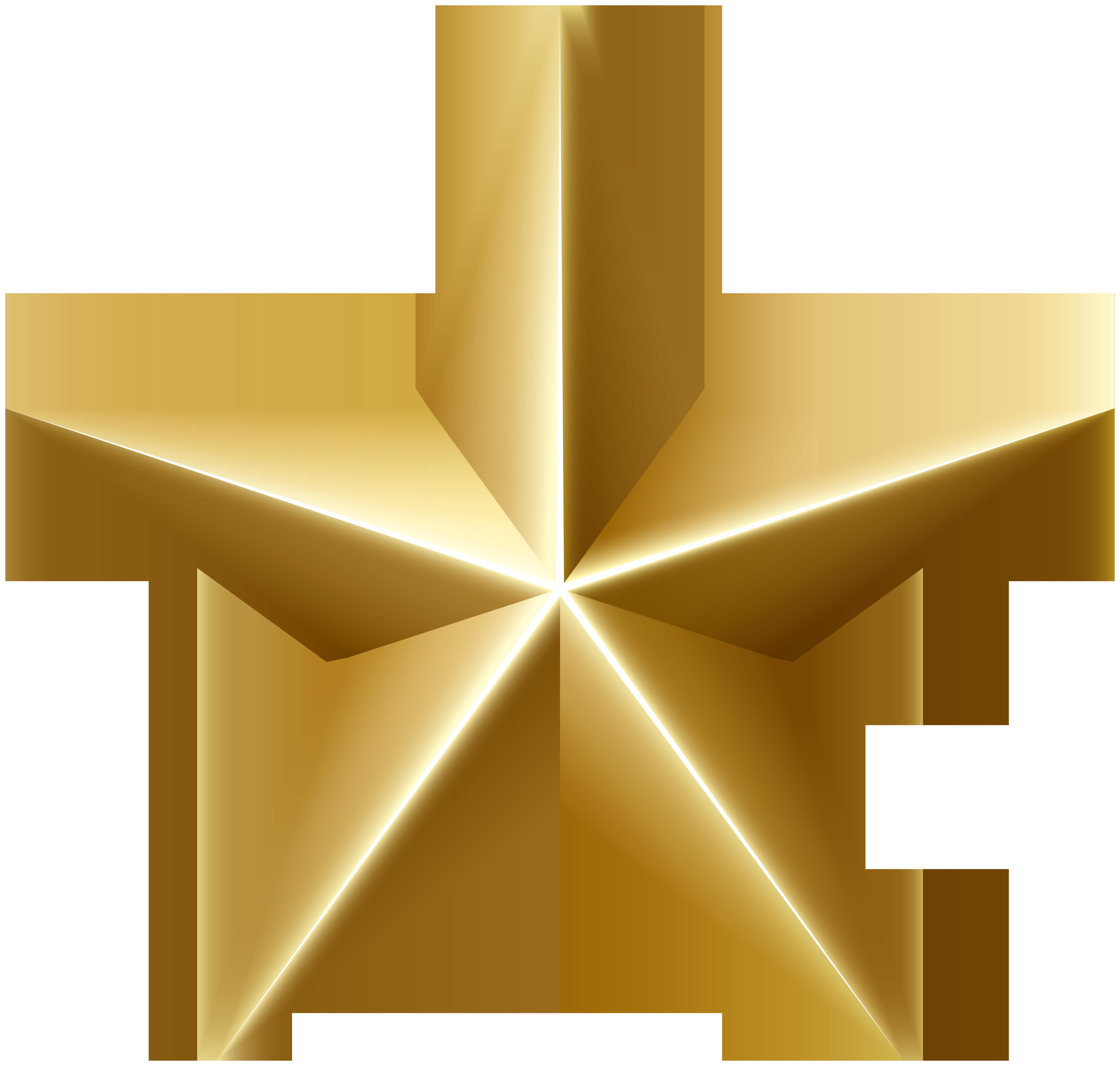 Golden Star PNG Clip Art Image.