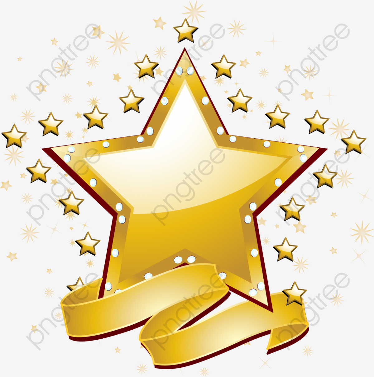 Gold Stars Vector Material, Star, View The Stars, Golden Banners PNG.