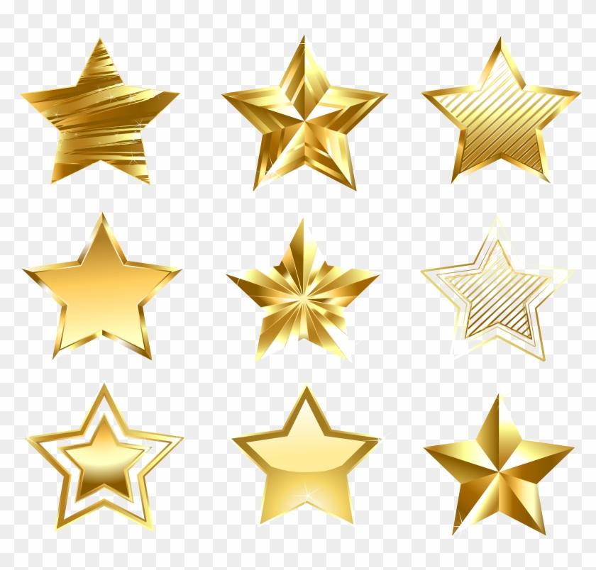 Transparent Golden Stars Set Png Clipart.