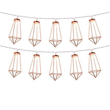 Omika Rose Gold Geometric Led Fairy Lights, USB Plug & Battery Powered,  Boho Metal Led Lantern String Lights.