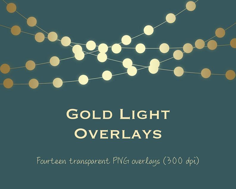 Gold light clipart, gold string lights clipart, gold light overlays, gold  bokeh, gold fairy lights, metallic light, metallic bokeh, DOWNLOAD.