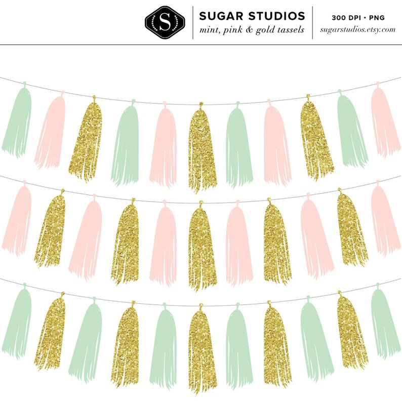 Mint, Pink and Gold Tassel Garland Digital Clip Art.