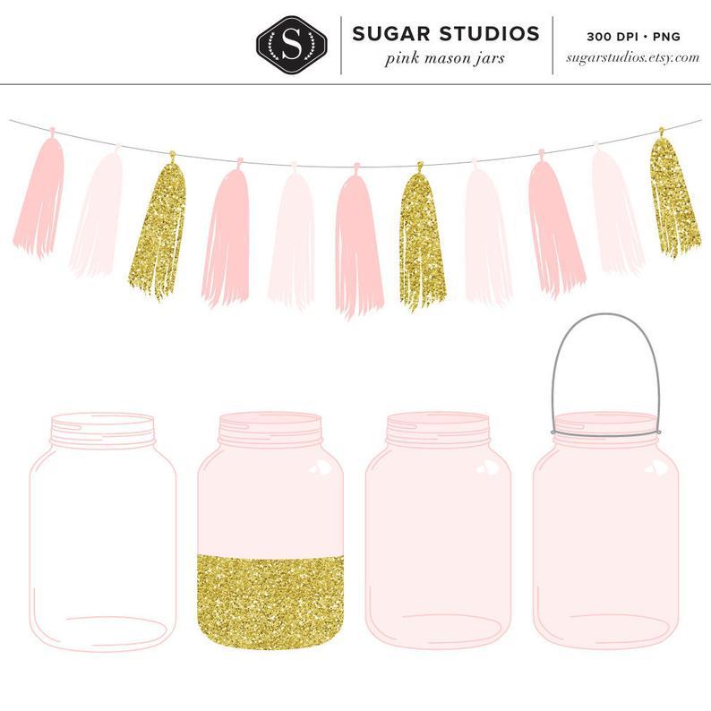 High Quality Pink Mason Jars and Tassel Clip Art Set.