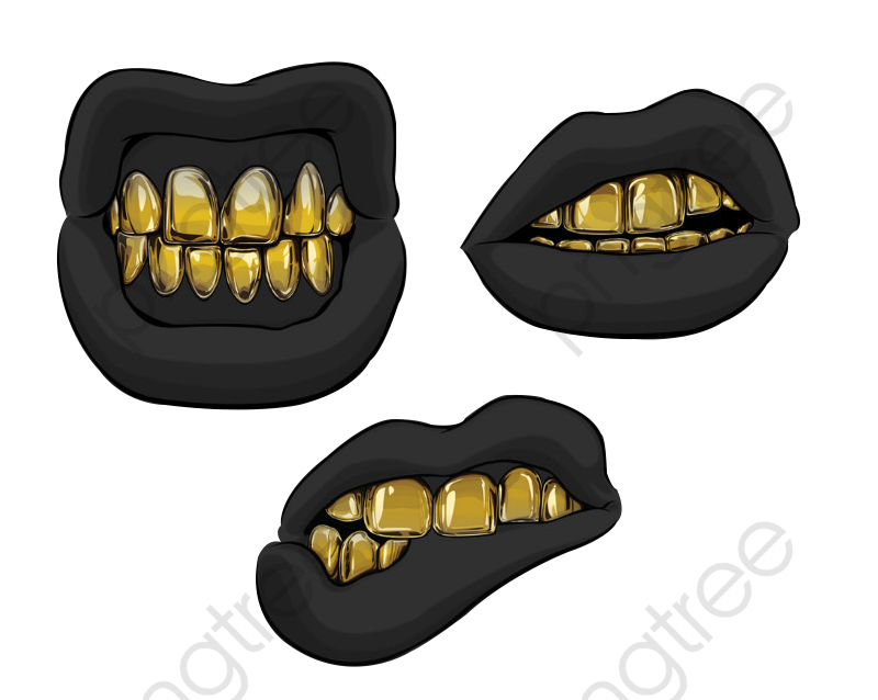 Black Mouth Gold Teeth, Golden, Black, Mouth PNG Transparent Clipart.