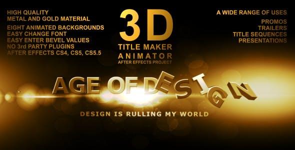 3D Title Maker Animator by Mikka.