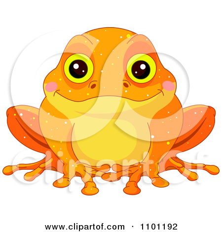 Clipart Happy Cute Golden Toad.