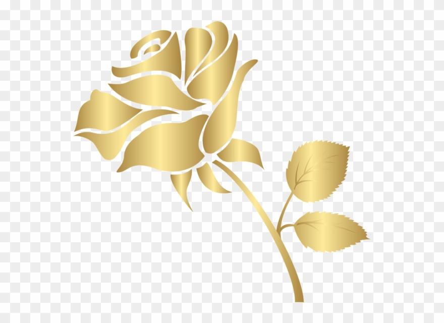 Decorative Gold Rose Png Clip Art Image.
