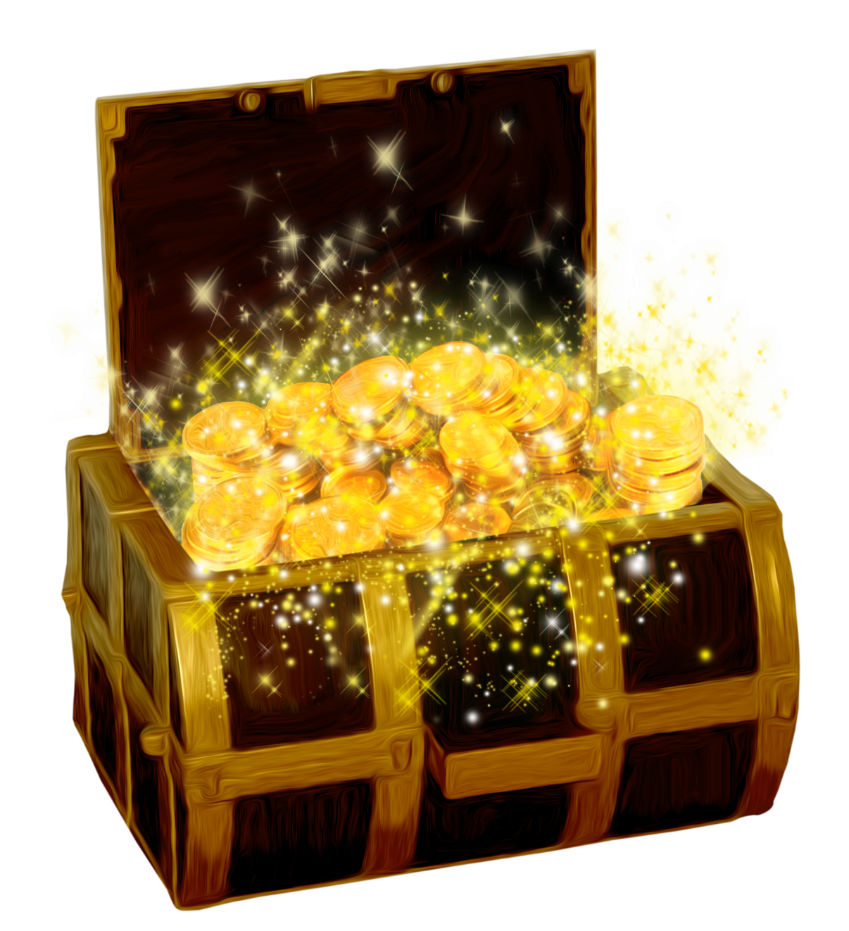 Treasure Chest with Gold Coins PNG Clipart Picture.