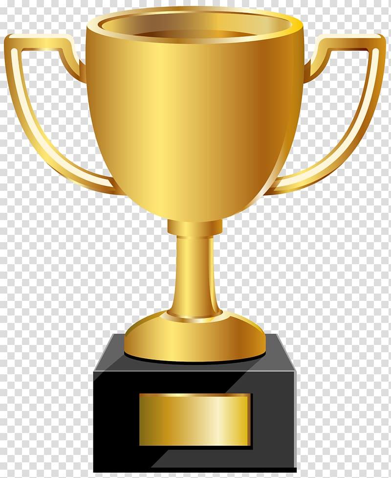 Gold trophy illustration, Trophy Medal , Golden Cup transparent.