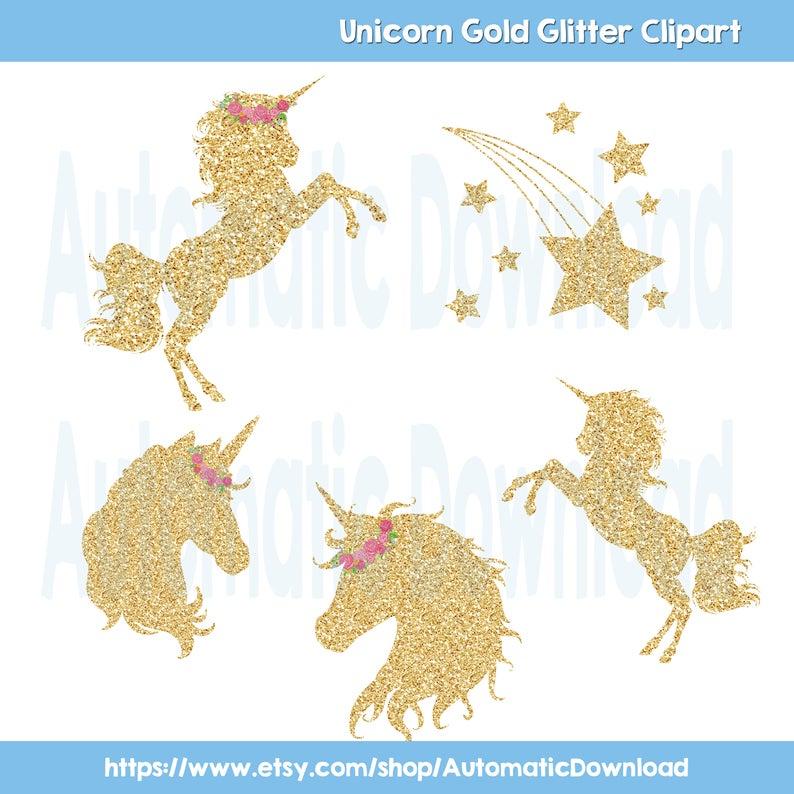Unicorn Gold Glitter Clipart, Unicorn Clipart, Unicorn Glitter, Unicorn  Gold, Clipart Unicorn, Magical Day Unicorn, Star Clipart, Star Gold.