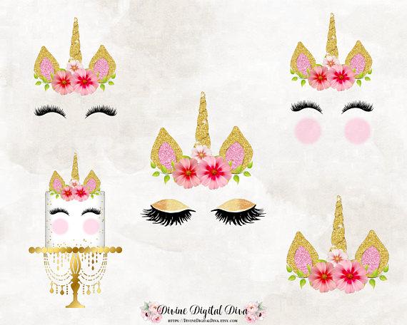 Unicorn Horn Face Eyelashes Flowers Cake Pink & Gold.