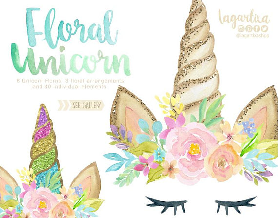 Glitter and Watercolor Unicorn floral Horn Clip art.