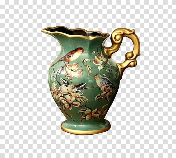 Green and gold ceramic vase , Vase Ornament Ceramic, Retro.