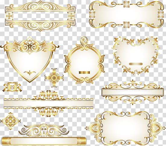 Ornament Gold, Decorative design frame gold pattern material.