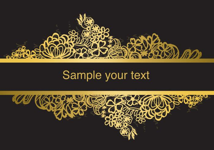 Gold Frame Lace Vector.