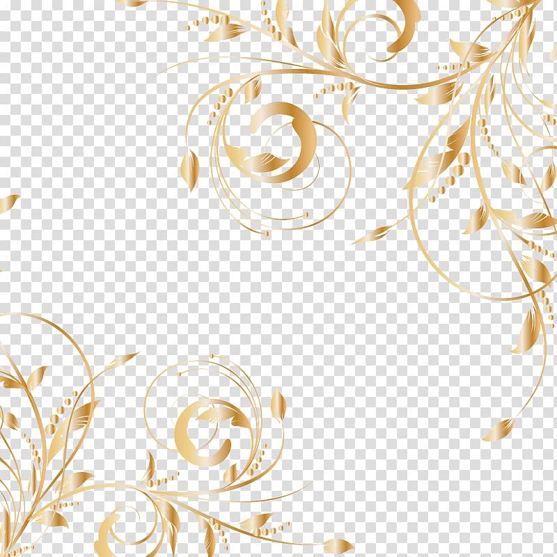 Euclidean Gold, golden patterns, orange floral border.