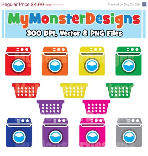 ON SALE Washer Laundry Clipart Personal and by MyMonsterDesigns.