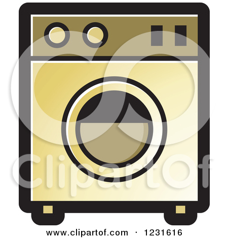 Clipart of a Gold Washing Machine Icon.
